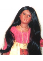 Kemper Indian Long Black MSD Size 7-8 Doll Wig