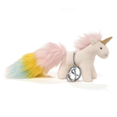 White Unicorn Rainbow Poof Tails Keychain