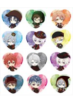 Idolish7 New Illustration Mini Character Valentine Great Escape Trading Heart-shaped Tin Badge