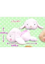 Pote Usa 15'' White Belly Flop Bunny Amuse Prize Plush