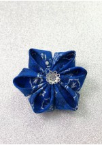 Kanzashi Hair Accessory - Blue With Silver Design