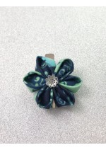 Kanzashi Hair Accessory - Batik with Aqua Swirls on Dark Blue Background