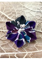 Kanzashi Hair Accessory - Aqua, White, Purple and Burgundy Colors
