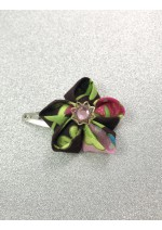 Kanzashi Hair Accessory - Brown, with Pink and Green Floral Design