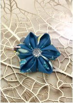 Kanzashi Hair Accessory - Blue with Baby Blue, Pink and Yellow