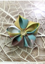 Kanzashi Hair Accessory - Brown, White, Yellow, Green and Peach